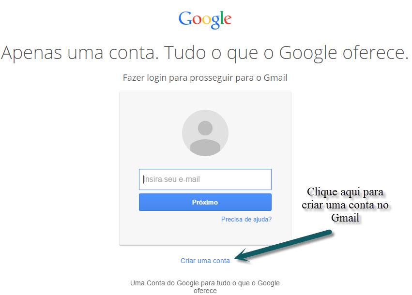 Registrar uma conta no Gmail