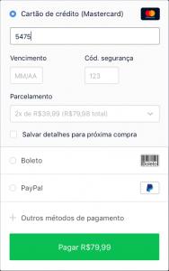 Exemplo de tela para informar dados do cartão de crédito